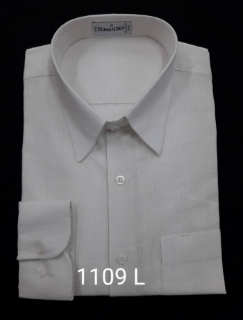 Camisa masculina manga longa, tipo linho, branco e bege