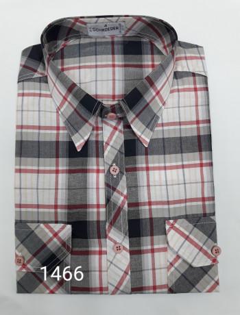 Camisa masculina manga curta, 2 bolsos xadrez