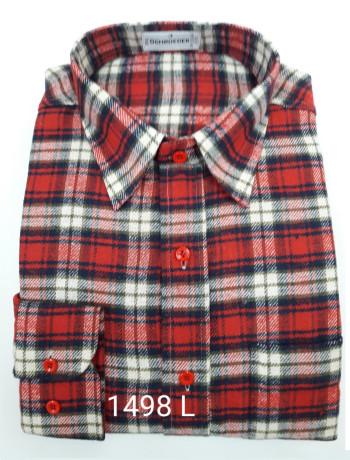 Camisa masculina manga longa xadrez vermelho inverno