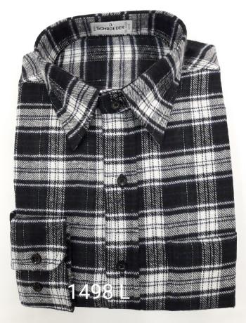 Camisa masculina manga longa xadrez preta inverno
