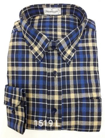 Camisa masculina manga longa xadrez azul inverno