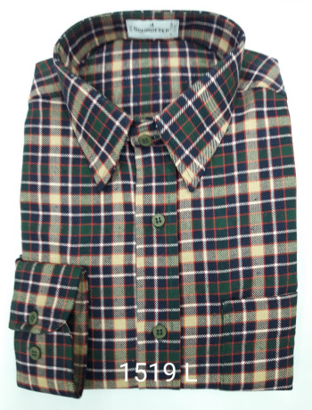 Camisa masculina manga longa xadrez verde inverno